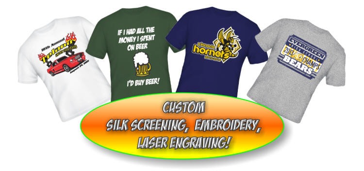 screen printed tee shirts, Embroidered Sportswear, Laser Engraving